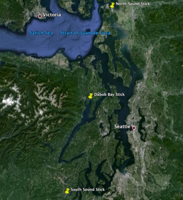 Locations of Puget Sound shell sticks